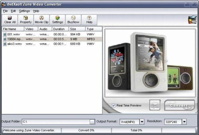 X-Soft Zune Video Converter Screenshot 2