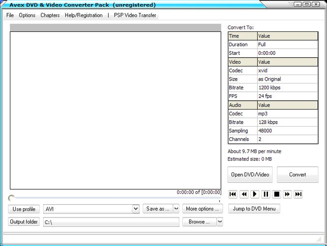 Avex DVD and Video Converter Pack Screenshot