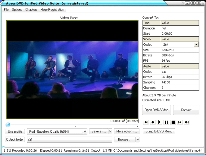 Avex DVD to iPod Video Suite Screenshot 3