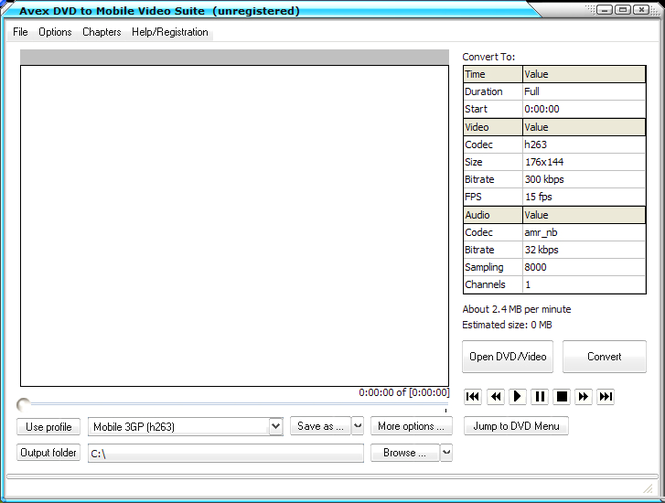 Avex-DVD to Mobile Video Suite Screenshot
