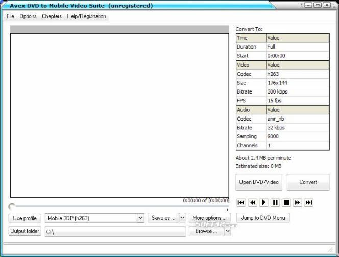 Avex-DVD to Mobile Video Suite Screenshot 3