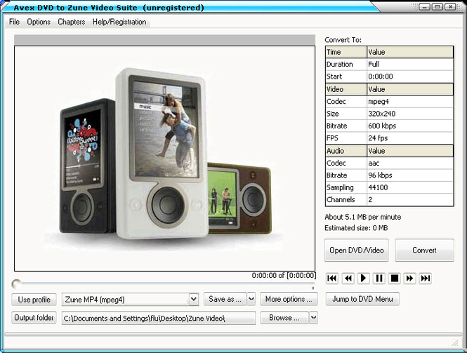 Avex-DVD to Zune Video Suite Screenshot