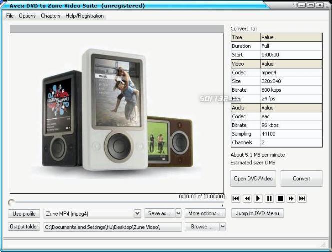 Avex-DVD to Zune Video Suite Screenshot 2
