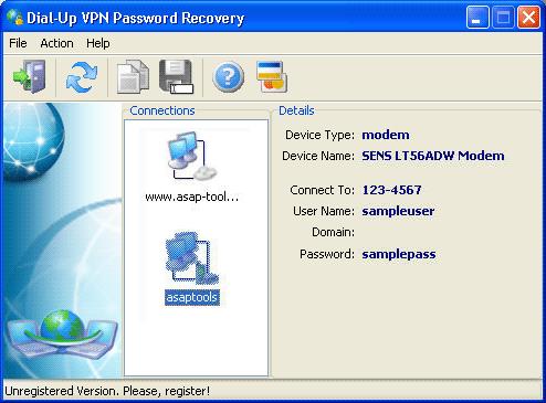 Dial-Up VPN Password Recovery Screenshot 1