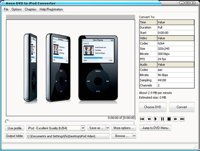 Avex-DVD to iPod Converter Screenshot