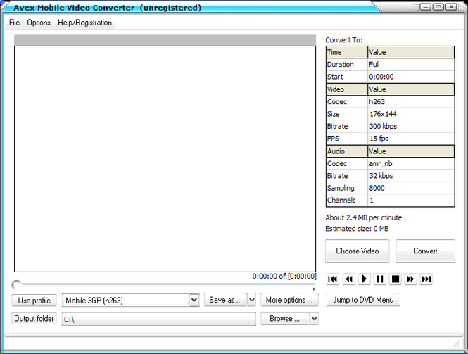Avex-Mobile Video Converter Screenshot