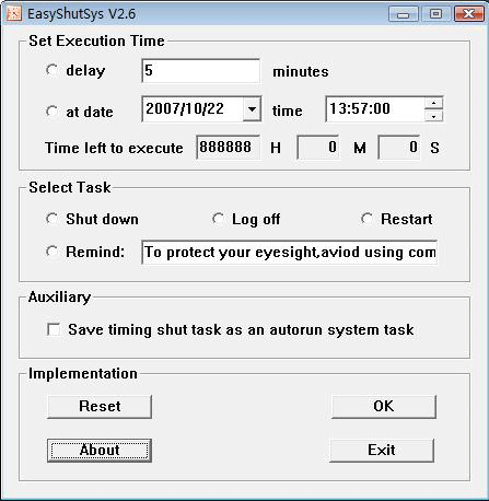 EasyShutSys Screenshot