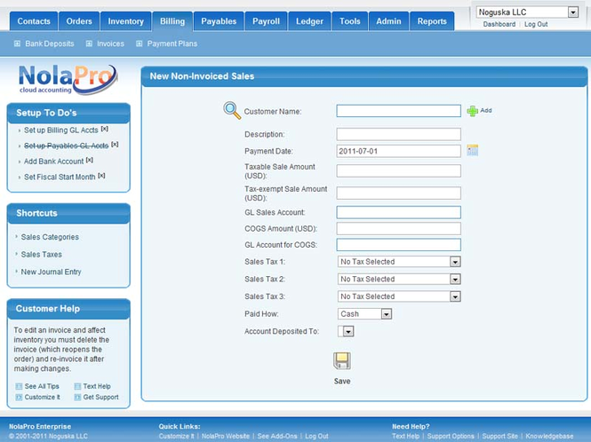NolaPro Free Web-Based Accounting Screenshot
