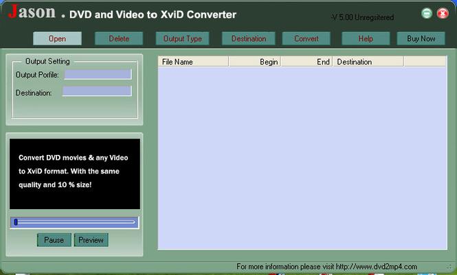 Jason DVD Video to XviD Converter Screenshot 1