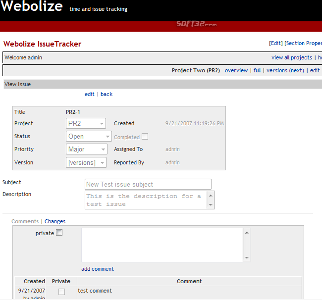 Webolize IssueTracker Screenshot