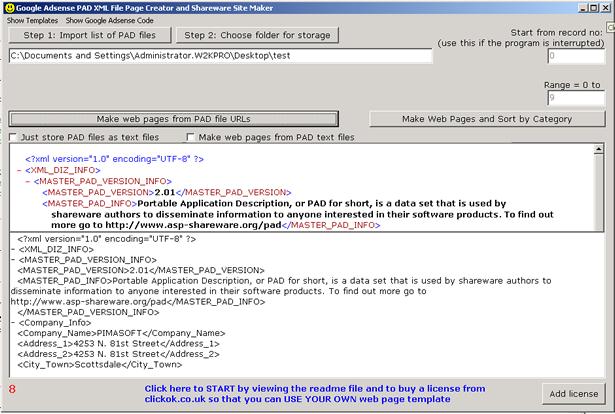 Google Adsense PAD XML Web Page Creator Screenshot
