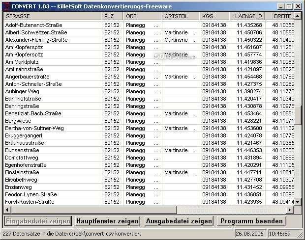 Geodaten German Streets Screenshot 3