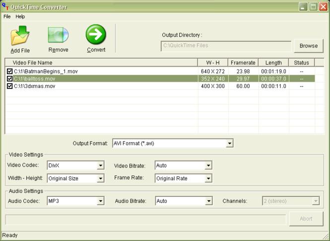DPSOF QuickTime Converter Screenshot
