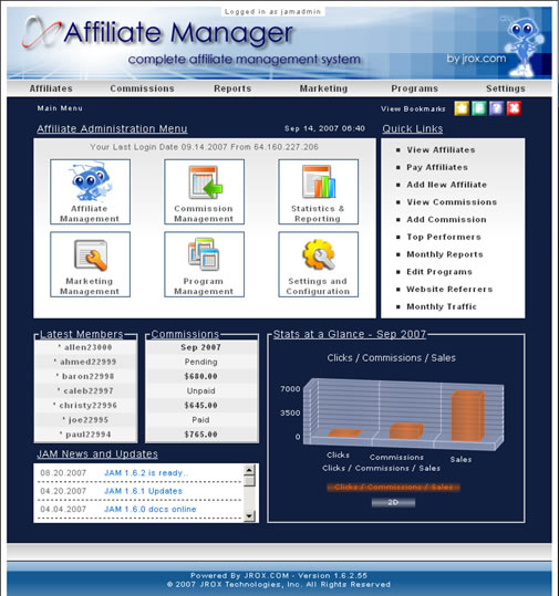 JROX.COM Affiliate Manager Screenshot