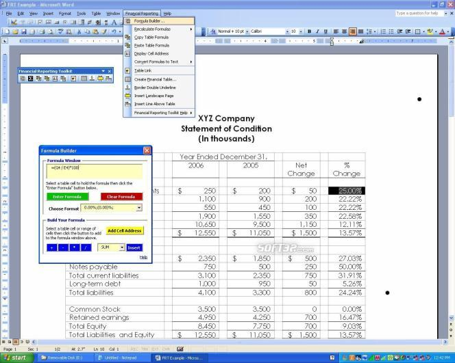 Formula Builder for MS Word - Accounting Screenshot