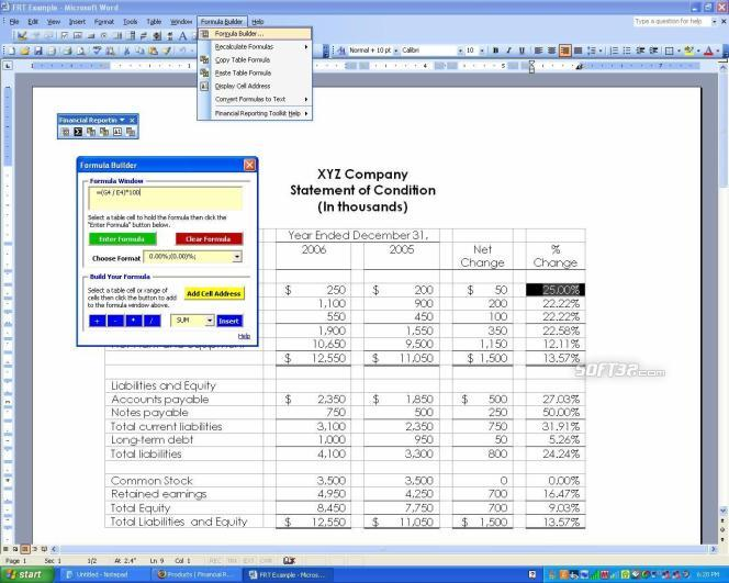 Formula Builder for MS Word - Basic Screenshot