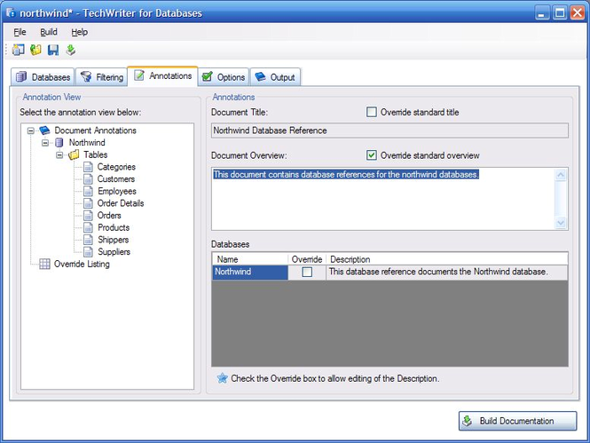 Adivo TechWriter for Databases Screenshot
