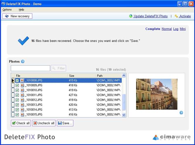 DeleteFIX Photo recovery Screenshot