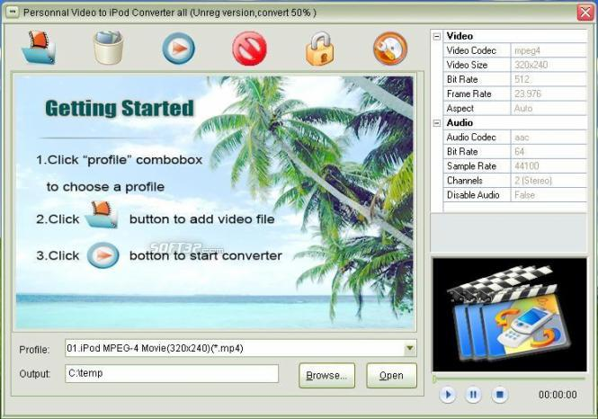 Personnal Video to ipod Converter Screenshot 1