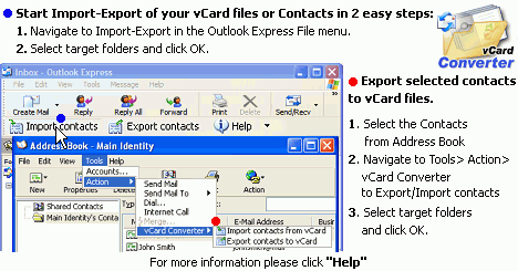 vCard Converter for Outlook Express Screenshot