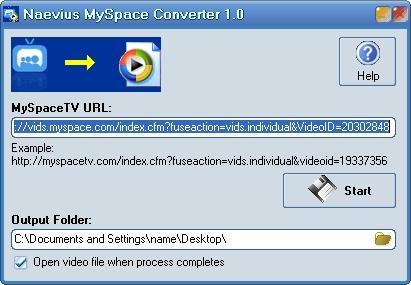 Naevius MySpace Converter Screenshot 1
