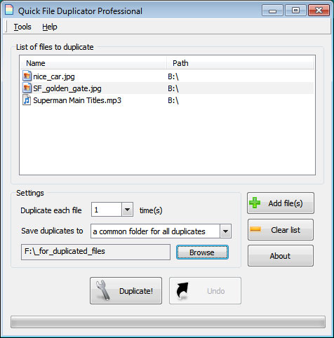 Quick File Duplicator Personal Edition Screenshot