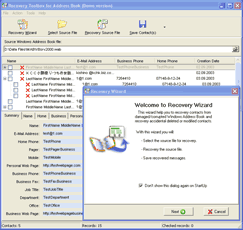 Recovery Toolbox for Address Book Screenshot