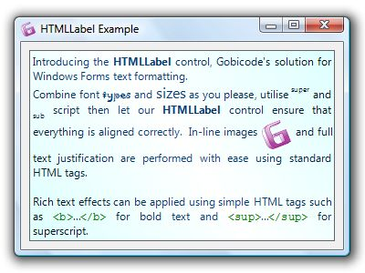 HTMLLabel for Windows Forms Screenshot