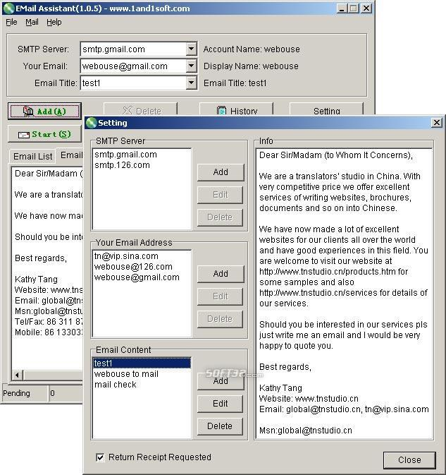 EMail Assistant Screenshot 2