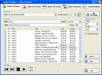 Audio One Pack (Audio CD Creater) Screenshot