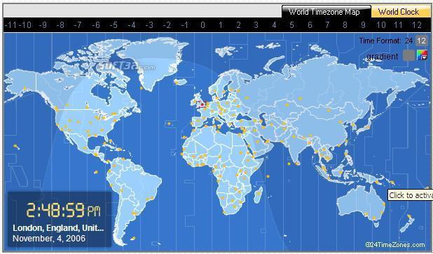 World Time Clock &  Map Screenshot