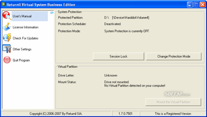 Returnil Virtual System 2008 Premium Screenshot 3