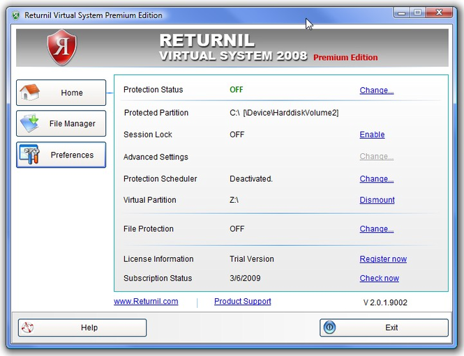 Returnil Virtual System 2008 Premium Screenshot 1