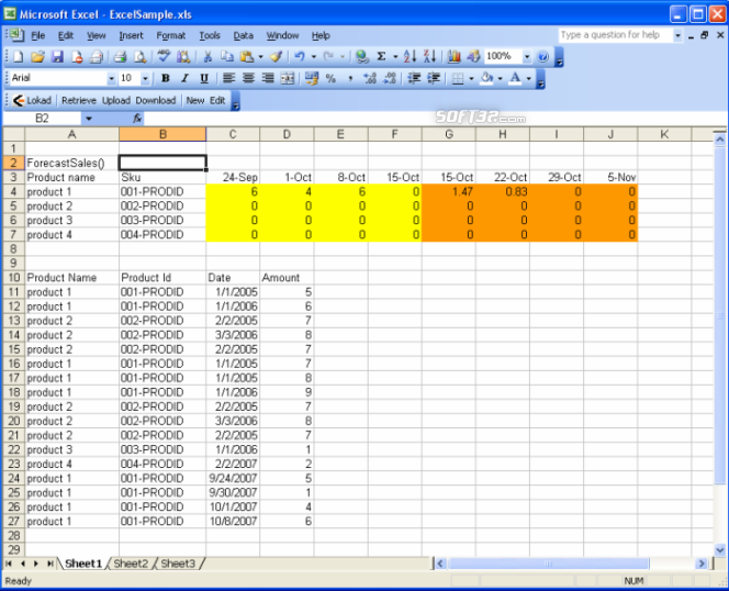 Lokad Excel Sales Forecasting Screenshot