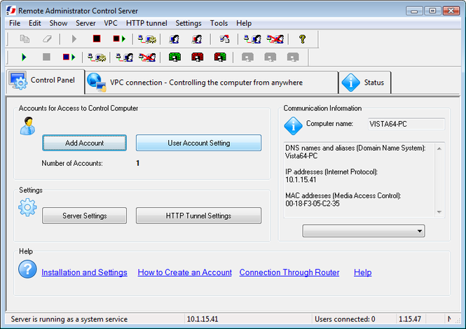 Remote Administrator Control Server Screenshot 2