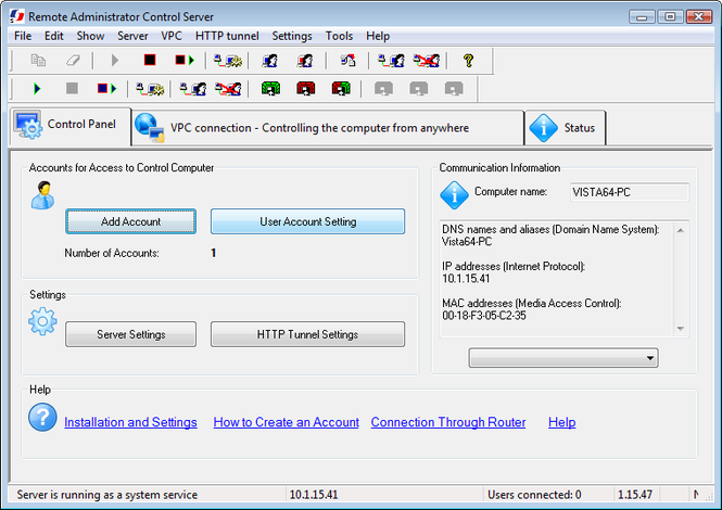 Remote Administrator Control Server Screenshot