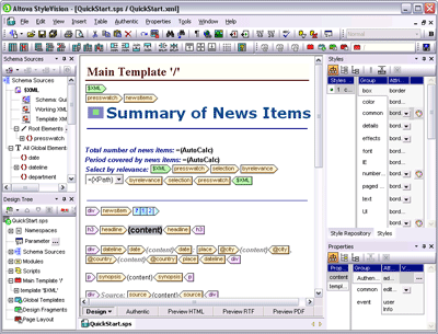 Altova StyleVision Professional Edition Screenshot