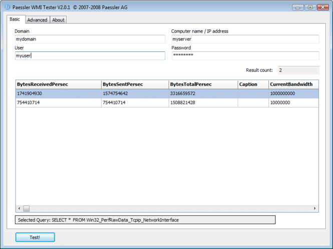 Paessler WMI Tester Screenshot 1