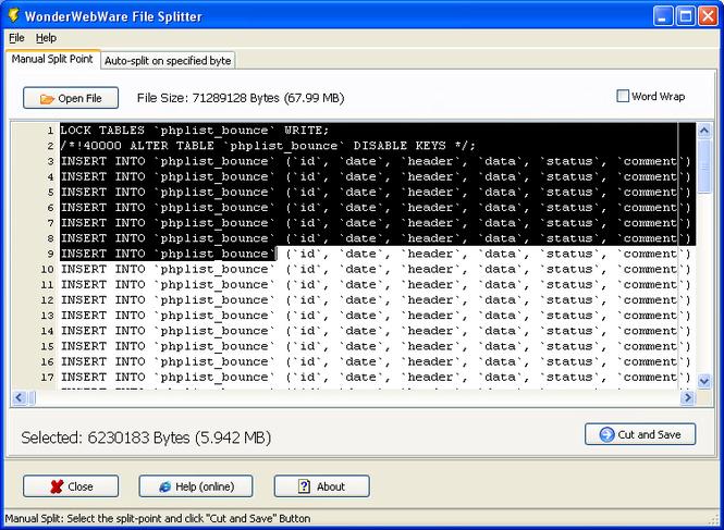 WonderWebWare File Splitter Screenshot 1