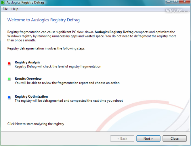 Auslogics Registry Defrag Screenshot 3