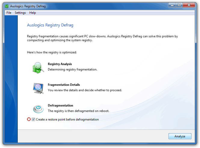 Auslogics Registry Defrag Screenshot