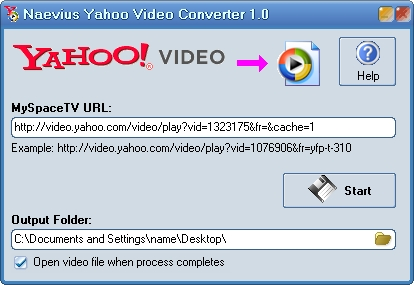 Naevius Yahoo Video Converter Screenshot 1