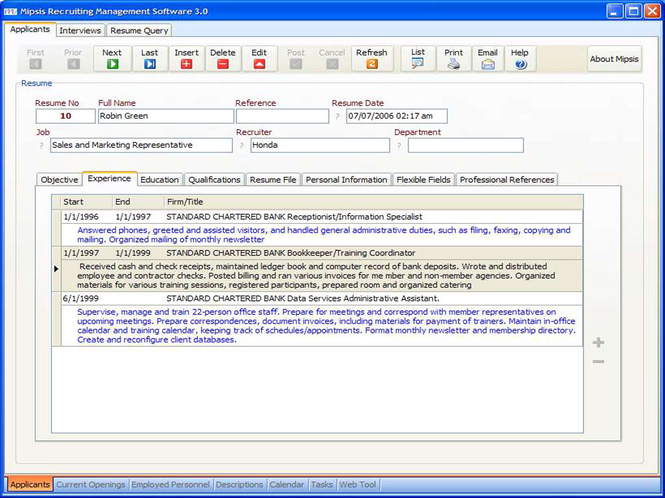 Mipsis Recruiting Management Software Screenshot