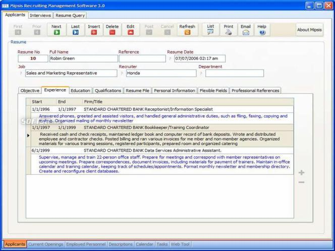 Mipsis Recruiting Management Software Screenshot 3