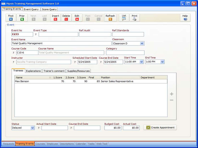 Mipsis Training Management Software Screenshot