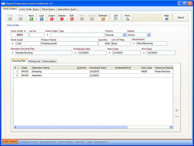 Mipsis Production Control Screenshot