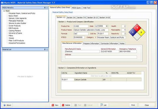 Mipsis MSDS Software Screenshot