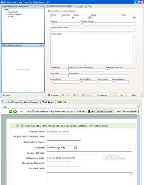 Mipsis Corrective & Preventive Actions Screenshot 1