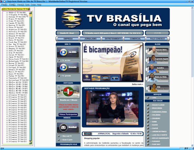 Worldwide Online TV Web Screenshot 1