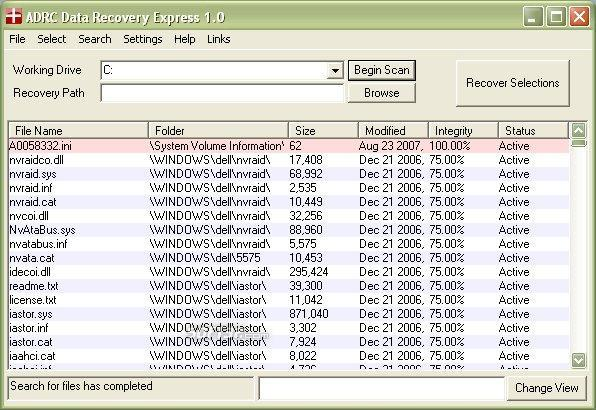 ADRC Data Recovery Express Screenshot 2